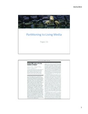 Topic 11 - Partitioning to Living Media