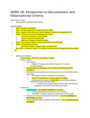 18- Introduction to Documentary and Observational Cinema