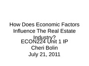ECON224 Unit 1 IP How Does Economic Factors Influence The Real Estate
