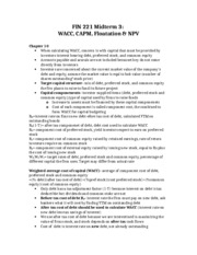 FIN 221 Midterm 3-  WACC, CAPM, Floatation & NPV