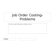 Job Order Costing-Problems