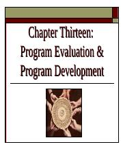 Ch 13 - Program Evaulation & Program Development