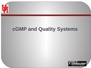 12 cGMP and Quality Systems F