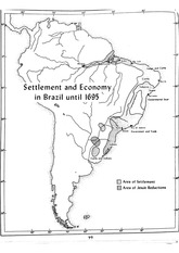 Settlement & Economy in Brazil until 1695 Map