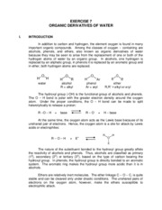 Exercise 7 (Organic Derivatives of Water)