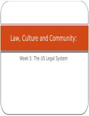 Law Culture and Community Week 5