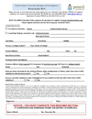 Volunteer Background Check Form July 2014