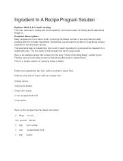 20 Ingredient In A Recipe Program Solution.doc