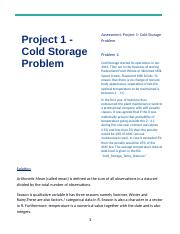 Cold Storage Project 1_Avinash Ray.docx