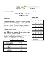 chemistry final exam version 2b Honour chemistry (semester 1): final exam (practice test) part a : multiple choice (the real final exam will not have that many multiple choice questions but the questions below cover most of the main concepts taught).