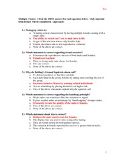 EEB behavior exam 2010 key