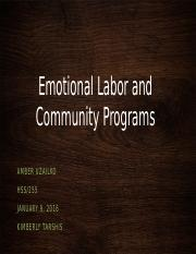 Emotional Labor and Community Programs
