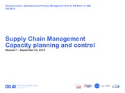 Module 7 SCM and capacity management