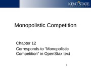 Ch 12 Notes on Monopolistic Competition