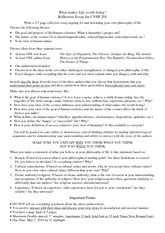 Reflective Essay for CVSP 201 - Spring 2014 (2)