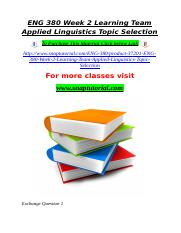ENG 380 Week 2 Learning Team Applied Linguistics Topic Selection.doc