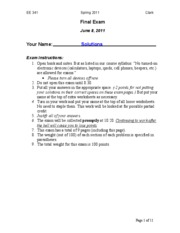EE 341 Spring 2011 Final Exam Solutions