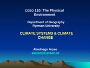Lecture 3 Climate Systems and Climate Change