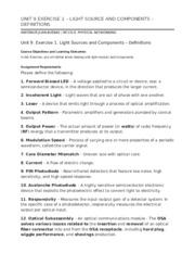 UNIT 9 EXERCISE 1 – LIGHT SOURCE AND COMPONENTS – DEFINITIONS