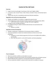Biology 171 Study Guide Control of the Cell Cycle