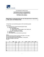 Practice 4 Firm behaviour and the organization of industry I. The cost of production