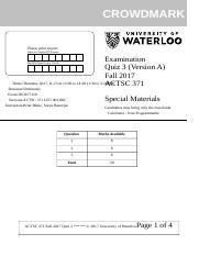 ACTSC 431 Quiz: Tut1 - OneClass