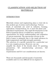 CLASSIFICATION AND SELECTION OF MATERIALS