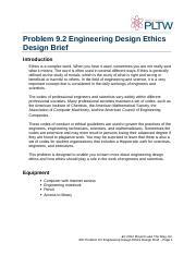 9.2.B DesignEthicsDesignBrief (1) - Problem 9.2 Engineering Design ...