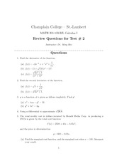 Math 201 Sample Test #2