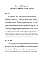 Lab Report on Cathode Rays Deflection.docx