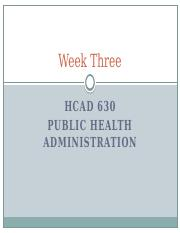 Week Three - What Constitutes the Federal Public Health System