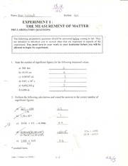 1 The Measurement of Matter
