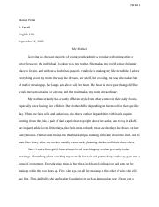 My Mother final essay mariah perez