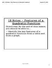 A2H - 1B Notes - Key Features of a Quadratic Function