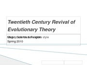 Twentieth Century Revival of Evolutionary Theory