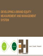8. Developing a Brand Equity Measurement & Management