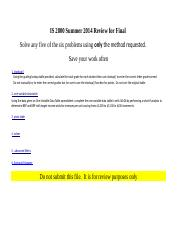 IS2800 Fall 2014 Review for Final Excel examples.xlsx