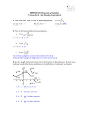Solutions for Problem Set 2 (Limits and Asymptotes)