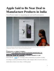 Apple Said to Be Near Deal to Manufacture Products in India.docx