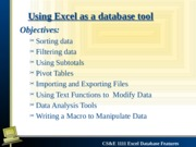 Lecture 17 Excel Database Features
