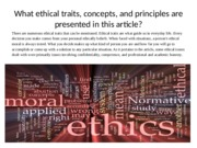 What ethical traits, concepts, and principles are presented in this article_Malisha Mishoe