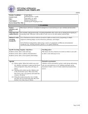 Health & P. E. Lesson Plan