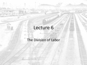 Lecture 6 - The Division of Labor