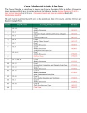Course Calendar with Activities
