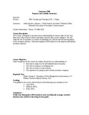 Syllabus Insurance 3300 Fall 2011