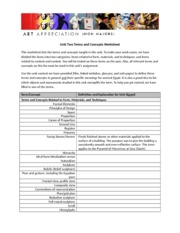 Terms and Concepts Worksheet Unit Two