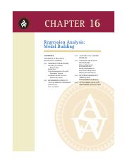 17. Chapter 16 - Regression Analysis Model Building (2)