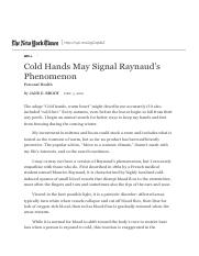 Cold Hands May Signal Raynaud's Phenomenon - The New York Times.pdf