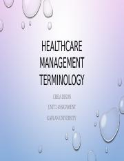 Healthcare management terminology