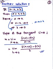 MATH 111 Slope of Tangent Line Notes